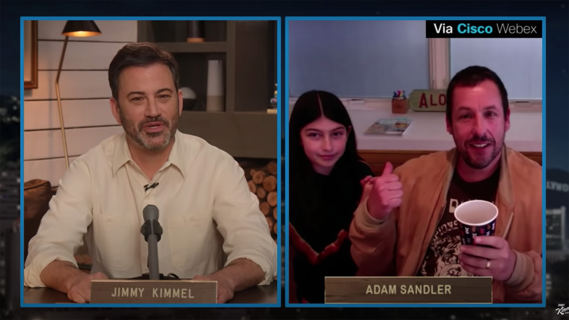 Adam Sandler S Daughter Adorably Crashes The Start Of His Interview With Jimmy Kimmel