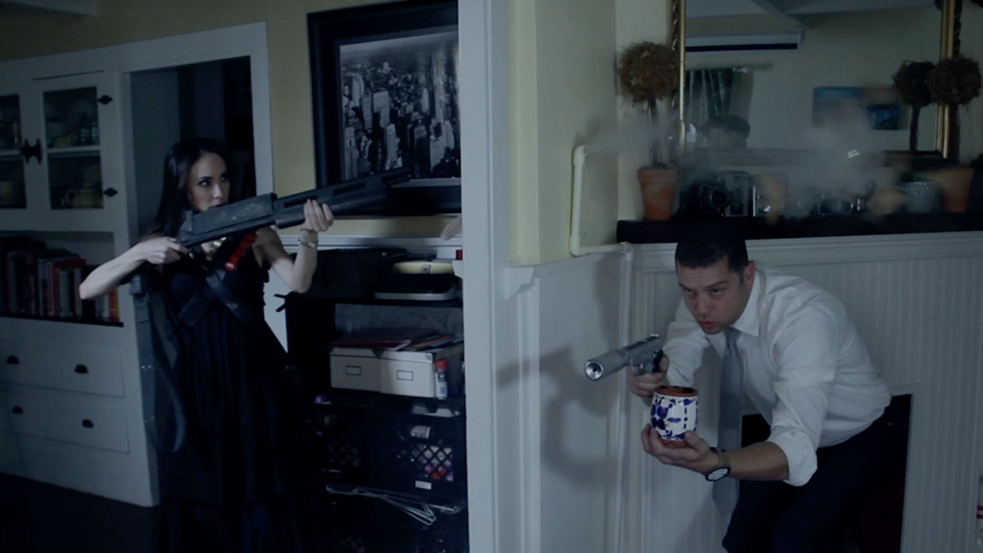 Mr And Mrs Smith Kitchen brangelina fight as 'mr. and mrs. smith' with a cappella gunfights and  cardboard props