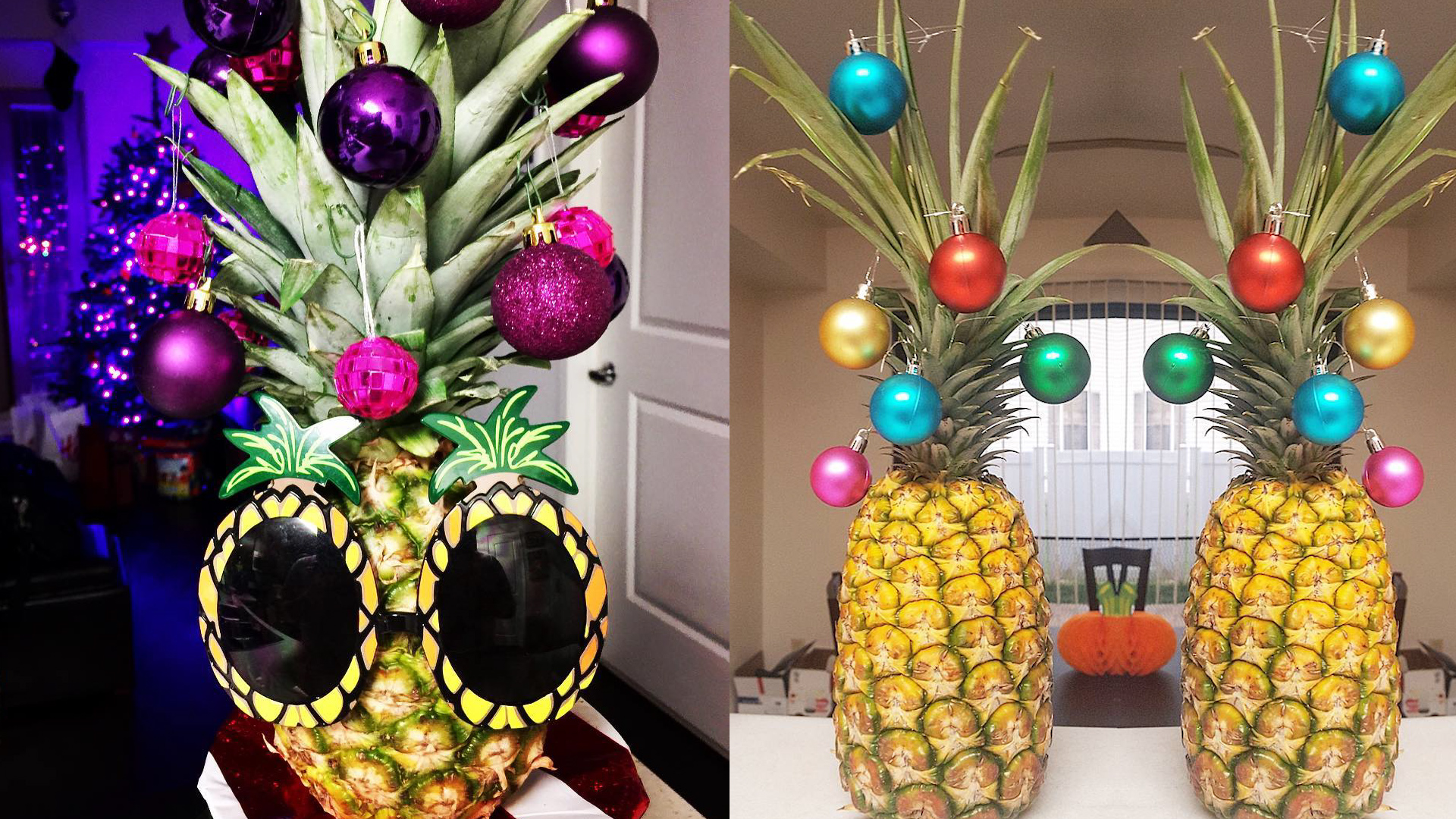 people are decorating their pineapples as christmas trees
